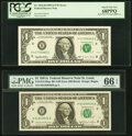 Fr. 1912-H $1 1981A Federal Reserve Note with Back Plate 129 at Left. PMG Gem Uncirculated 66 EPQ; Fr. 1922-H $