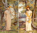 Ceramics & Porcelain, A Pair of English Painted Porcelain Plaques: Love Letter, late 19th-early 20th century. Marks: MINTONS, (date ma... (Total: 2 Items)