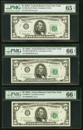Small Size:Federal Reserve Notes, Fr. 1968-B (2); B* $5 1963A Federal Reserve Notes. PMG Gra...