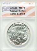 2001-D $1 Buffalo Silver Dollar MS70 ANACS. Paired with a 2001-P $1 Buffalo Silver Dollar PR70 Deep Cameo ANACS. ... (To...