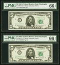 Small Size:Federal Reserve Notes, Fr. 1968-C; C* $5 1963A Federal Reserve Notes. PMG Gem Uncirculated 66 EPQ.. ... (Total: 2 notes)