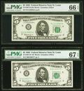 Small Size:Federal Reserve Notes, Fr. 1967-H; H* $5 1963 Federal Reserve Notes. PMG Graded G...