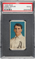 Baseball Cards:Singles (Pre-1930), 1909-11 T206 Drum Harry Krause (Portrait) PSA Good 2 - The Only PSA-Graded Example!...