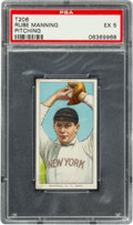 Baseball Cards:Singles (Pre-1930), 1909-11 T206 Polar Bear Rube Manning (Pitching) PSA EX 5 - Pop Two, None Higher for Brand. ...
