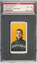 Baseball Cards:Singles (Pre-1930), 1909-11 T206 Old Mill Doc White (Chicago Portrait) PSA EX-MT 6 - Pop One, One Higher for Brand. ...