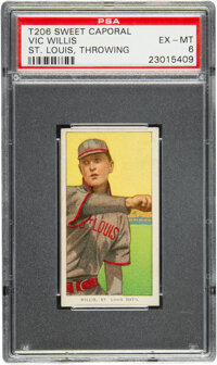 1909-11 T206 Sweet Caporal 350-460/42 Vic Willis (Throwing) PSA EX-MT 6 - Pop One, One Higher with Factory 42 Back