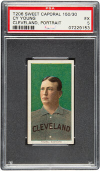 1909-11 T206 Sweet Caporal 150/30 Cy Young (Portrait) PSA EX 5 - Pop One, One Higher for Brand/Series/Factory