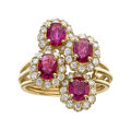 Estate Jewelry:Rings, Ruby, Diamond, Gold Ring Stones: Oval-shaped ...