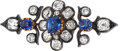 Estate Jewelry:Brooches - Pins, Antique Sapphire, Diamond, Silver-Topped Gold Brooch