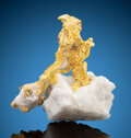 Minerals:Golds, Gold Spinel Twins on Quartz . Mockingbird Mine (Talc & Lacy claim), Colorado area. Whitlock District, Bagby-Mariposa-M...