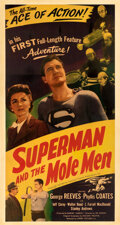 """Movie Posters:Action, Superman and the Mole Men (Lippert, 1951). Fine on Linen. Three Sheet (41.25"""" X 78"""").. ..."""