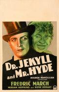 """Movie Posters:Horror, Dr. Jekyll and Mr. Hyde (Paramount, 1931). Very Good/Fine on Cardstock. Framed and Matted Window Card (14"""" X 22"""") with Autog..."""