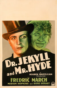 """Dr. Jekyll and Mr. Hyde (Paramount, 1931). Very Good/Fine on Cardstock. Framed and Matted Window Card (14"""" X 22&quo..."""