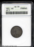 Bust Dimes: , 1831 10C AU50 ANACS. JR-5, R.1. Moderately toned and well ...