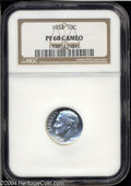 Proof Roosevelt Dimes: , 1954 10C PR68 Cameo NGC. This glowing white Superb Gem is ...