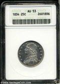 Bust Quarters: , 1834 25C AU53 ANACS. B-1, R.1. Promptly identified by the ...