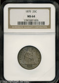 Seated Quarters: , 1875 25C MS64 NGC. Luster peeks through two shades of ...