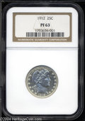 Proof Barber Quarters: , 1912 25C PR63 NGC. Bright and untoned overall with some ...