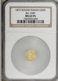 California Fractional Gold, 1872 50C Indian Round 50 Cents, BG-1049, R.4, MS63 Prooflike NGC.(#710878)...