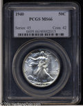 Walking Liberty Half Dollars: , 1940 50C MS66 PCGS. Sharply struck with bright, rich ...
