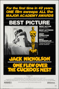 """Movie Posters:Academy Award Winners, One Flew Over the Cuckoo's Nest (United Artists, 1975). Folded, Very Fine-. One Sheet (27"""" X 41"""") Academy Award Style. . ..."""