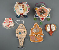 Six Iroquois Beaded Cloth Whimsies ... (Total: 6)