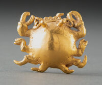 A Cocle Gold Crab Bell Pendant