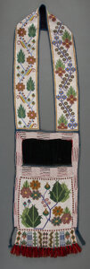 American Indian Art:Beadwork and Quillwork, A Chippewa Beaded Cloth Bandolier Bag...