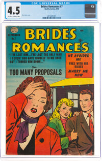 Brides Romances #7 (Quality, 1954) CGC VG+ 4.5 Off-white to white pages