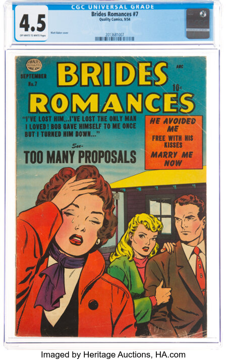 Brides Romances #7 (Quality, 1954) CGC VG+ 4.5 Off-white to white pages....