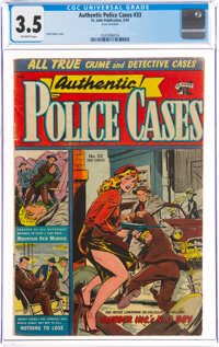 Authentic Police Cases #33 (St. John, 1954) CGC VG- 3.5 Off-white pages