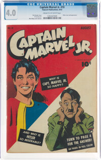Captain Marvel Jr. #10 (Fawcett Publications, 1943) CGC VG 4.0 Cream to off-white pages