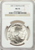 2001-D $1 Buffalo Silver Dollar MS70 NGC. Paired with a 2001-P $1 Buffalo Silver Dollar PR69 Ultra Cameo NGC.... (Total:...