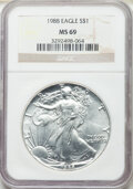 1988 $1 Silver Eagle MS69 NGC. This lot will also include the following: 1989 $1 Silver Eagle MS69 NGC; and a 1996... (T...