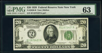 Fr. 2050-B $20 1928 Federal Reserve Note. PMG Choice Uncirculated 63