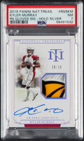 Football Cards:Singles (1970-Now), 2019 Panini National Treasures Kyler Murray (Rookie Gloves, Signature, Holo Silver) #RGSKM PSA NM 7 - #'d 8/10....