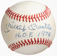 """1980's Mickey Mantle Single Signed Baseball with """"H.O.F. 74"""" Inscription"""