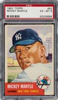 Baseball Cards:Singles (1950-1959), 1953 Topps Mickey Mantle #82 PSA EX-MT 6. The Comm...