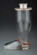 Silver & Vertu, American School (20th Century). Rare Cowboy Boot Cocktail Shaker. Glass, metal, leather. 13 x 10 x 5 inches (33.0 x 25.4...