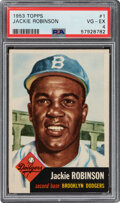 Baseball Cards:Singles (1950-1959), 1953 Topps Jackie Robinson #1 PSA VG-EX 4. One of ...