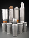 Silver & Vertu, A Group of Ten Aluminum Cocktail Articles, mid-20th century. Marks: (various). 14-1/2 x 4 x 4 inches (36.8 x 10.2...