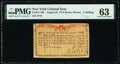 Colonial Notes:New York, New York August 25, 1774 (Water Works) 1s PMG Choice Uncirculated 63.. ...