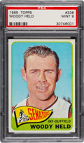 Baseball Cards:Singles (1960-1969), 1965 Topps Woody Held #336 PSA Mint 9. Our offere...