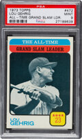 Baseball Cards:Singles (1970-Now), 1973 Topps All-Time Leader - Lou Gehrig #472 PSA Mint 9 - ...