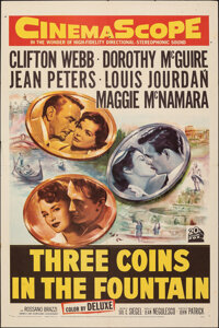 """Three Coins in the Fountain (20th Century Fox, 1954). Folded, Fine/Very Fine. One Sheet (27"""" X 41""""). Romance..."""