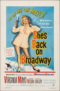 """She's Back on Broadway (Warner Bros., 1953). Folded, Very Fine. One Sheet (27"""" X 41""""). Musical"""
