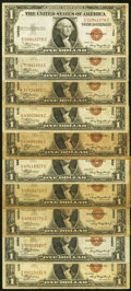 Small Size:World War II Emergency Notes, Fr. 2300 $1 1935A Hawaii Silver Certificates. Ten Examples...