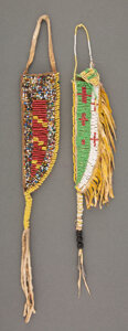 American Indian Art:Beadwork and Quillwork, Two Sioux Beaded Hide Knife Sheaths... (Total: 2 )