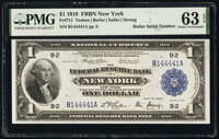 Radar Serial Number 144441 Fr. 711 $1 1918 Federal Reserve Bank Note PMG Choice Uncirculated 63 EPQ