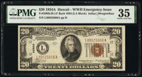 Fr. 2305 $20 1934A Hawaii Federal Reserve Note. Late Finished Back Plate 204. PMG Choice Very Fine 35